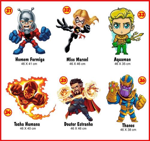 07 adesivos de parede super herói hero squad liga da justiça