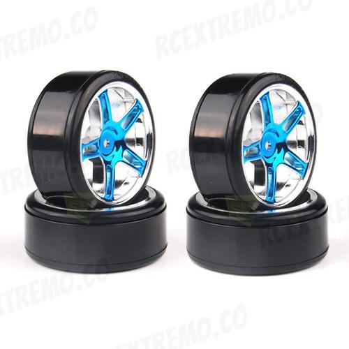 07003  ruedas drifting 1:10 llanta con rin azul x 4