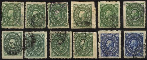 0718 hidalgo ovalo verde 1° e lote 12 sellos usados 1884