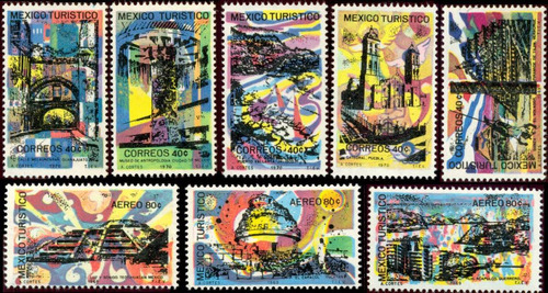0881 méxico turistico scott#1008  7 p mint n h y l h 1969-70