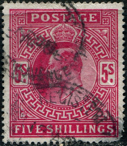 0951 inglaterra rey eduardo 7° 5 sh usado 1902-11