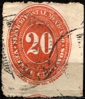 0971 clásico numeral scott #220 8° e rojo 20c usado 1890-95