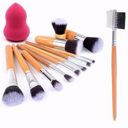 1 +12 brochas pinceles de maquillaje cerda sinteticas suaves