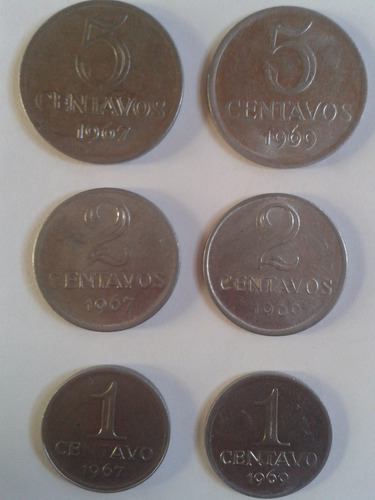1 * 2 * 5 centavos 1967 - 1969 brasil l12