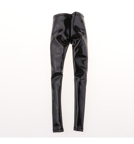 1: 6 pantalones de cuero de pu negro pantalones femeninos