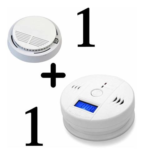 1 alarma detector de monóxido de carbono + 1 sensor humo