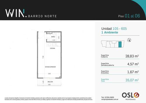 1 ambiente 35m2 en recoleta. amenities win barrio norte