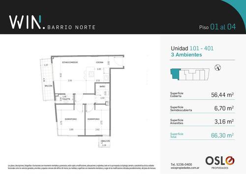 1 ambiente 40m2 en recoleta. amenities. win barrio norte