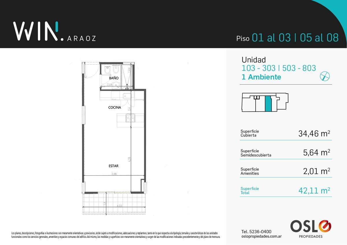 1 ambiente 42m2 con amenities