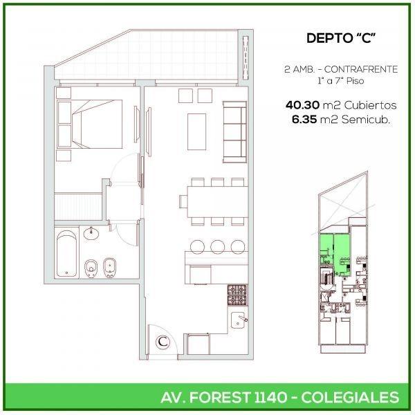 1 ambiente | forest, avda. al 1100
