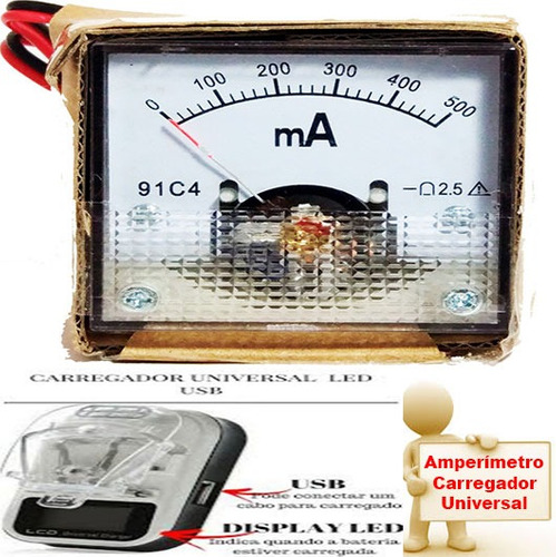 1 amperímetro analógico mais 3 carregador universal