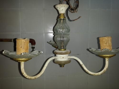 1 araña estilo luis xvi de 3 lucescon portalamparas velas
