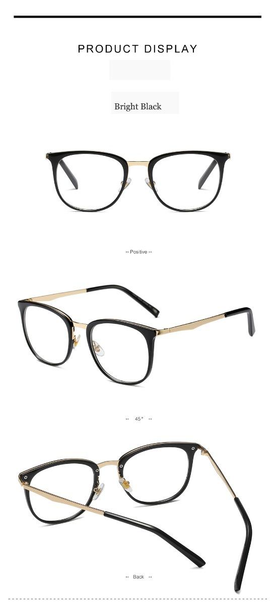 554c611a3 1 Armação Óculos De Grau Quadrada Feminina Retrô 2018 Preta - R$ 78 ...