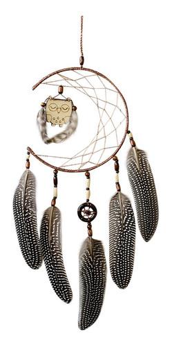 1 atrapasueños con plumas de madera, diseño de búho