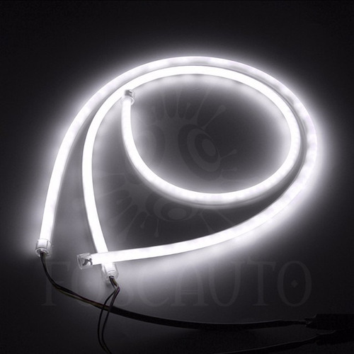 1 barra led drl flexível farol angel eyes neon diurna/ 30cm