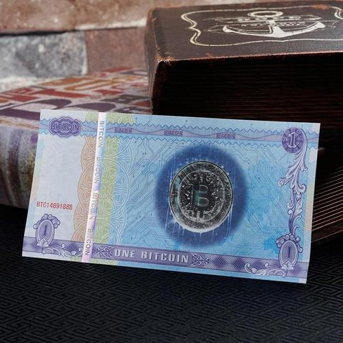 1 bitcoin billete original nuevo de colección criptomoneda