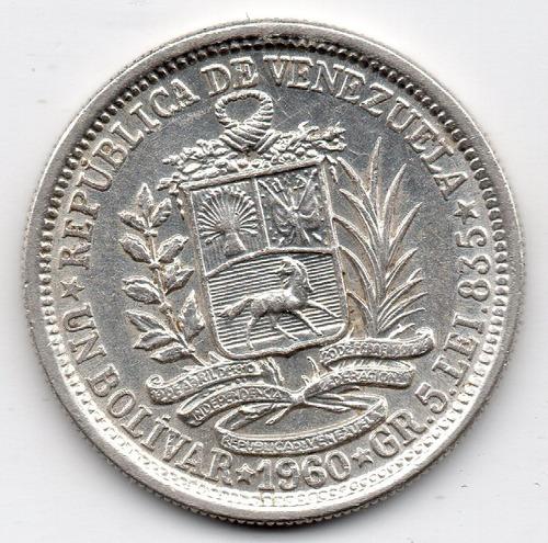 1 bolivar de plata 1960 moneda