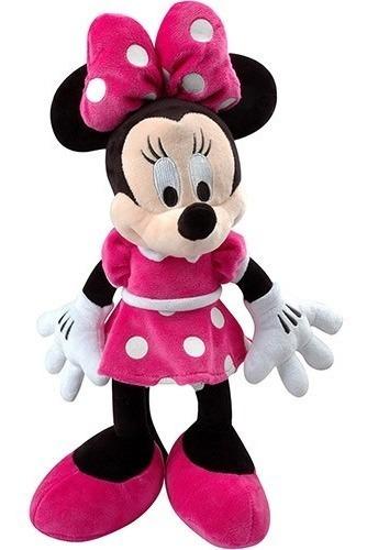 1 boneca de pelucia minnie laço rosa musical