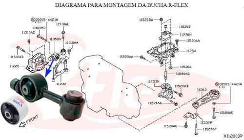 1 bucha coxim limitador torque superior motor tiida livina