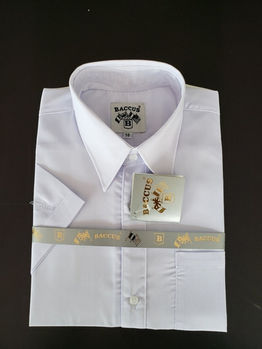 1 camisa escolar manga corta niño marca baccus blanco optic