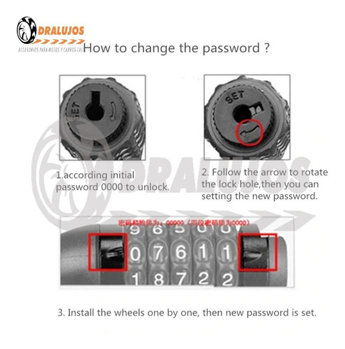 1 candado guaya gruesa cambio de clave seguridad motocasco