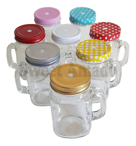 .1 caneca lousa mason jar + 1 tampas diferentes sweet amado