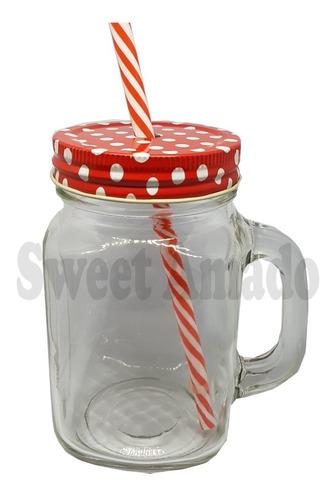 1 caneca mason jar de vidro + 1 canudo + 1 tampa diferentes