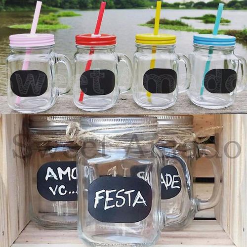 1 caneca mason jar lousa + 1 tampa e 1 canudos - sweet amado