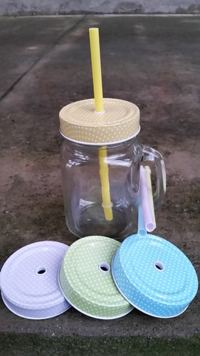 1 caneca mason jar vidro + 1 canudos + 1 tampas diferentes