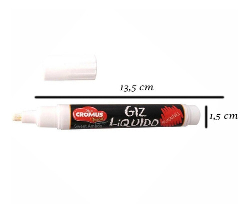 1 caneta giz líquido removível p/ etiquetas vidro plástico