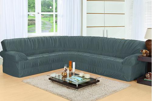 1 capa protetor sofá de canto elasticada em malha grande