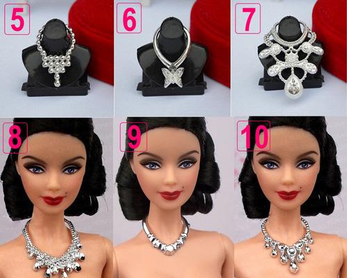 1 colar de luxo para boneca barbie susi * prata fashion