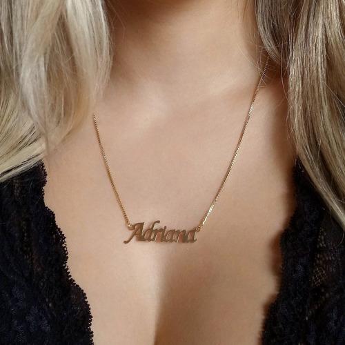 1 colar de nome, semi joia, banhado a ouro 18k, atacado