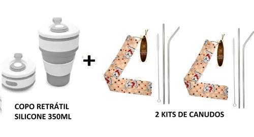 1 copo silicone retrátil dobrável ecológico  + 2 kits canudo