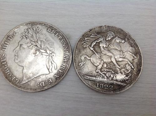 1 coroa britânica - grã bretanha 1822 - réplica-banho prata