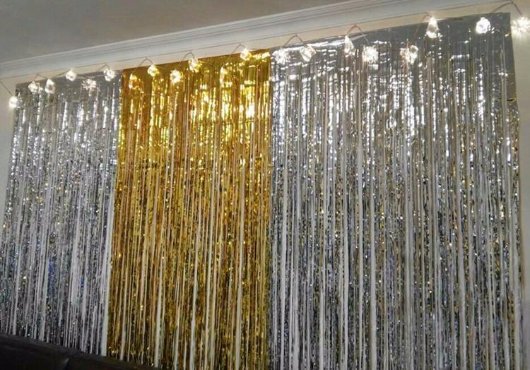 1 cortina papel metalica oro decoracion fiesta 2m de alto - Decoracion en cortinas ...