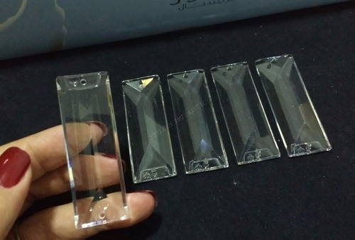 1 cristais asfour retângulo 2 furos 6,3 cm para lustres