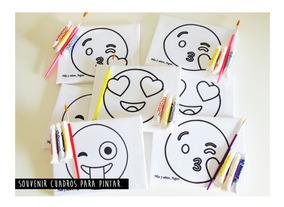 1 Cuadro Para Pintar Emoji 10x14 Cm Con Temperas