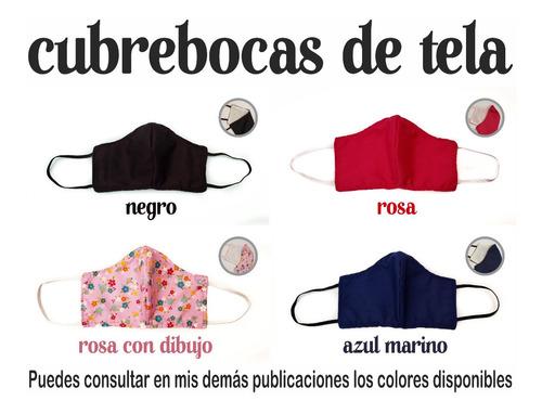 1 cubrebocas de tela, lavables, 4 diseños, fibra de algodón