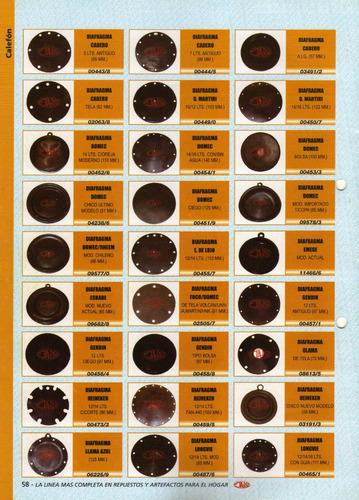 1 diafragma  domec 14/16 lts.con/sin agua 140mm art.00454/1