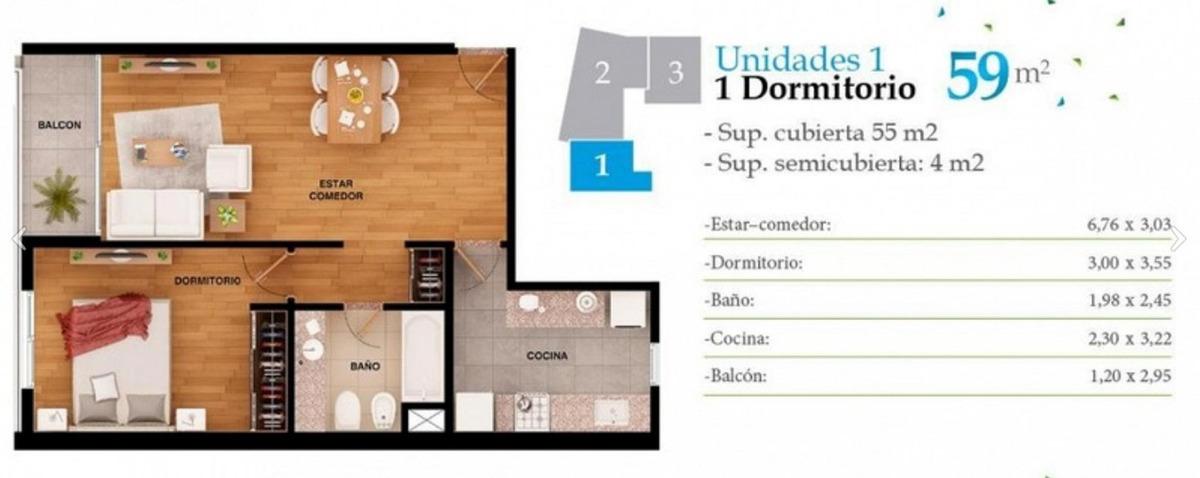 1 dormitorio + cochera, pagalo en cuotas pesos!