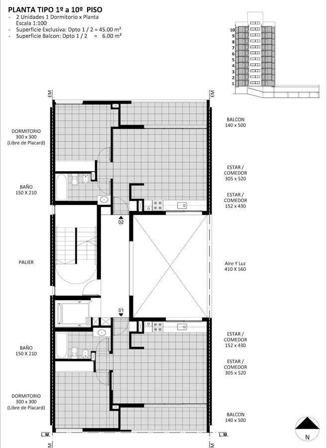 1 dormitorio con 51m2