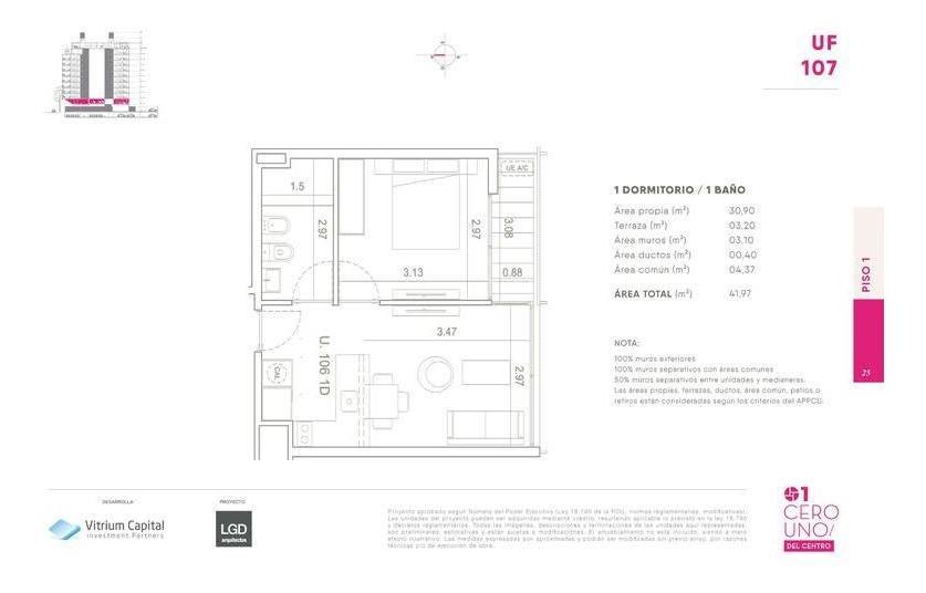 1 dormitorio contrafrente - 01 centro (montevideo) ideal renta