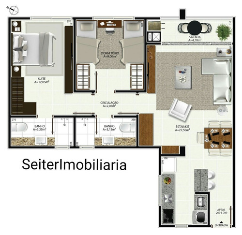 1 dormitorio coqueiros ref. 20277