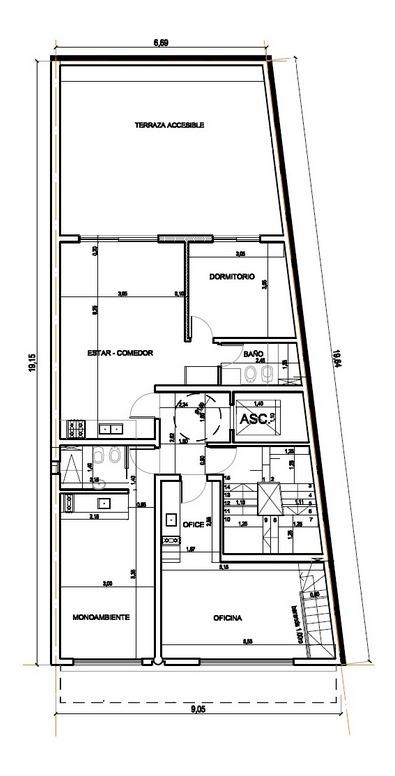 1 dormitorio en construcción - zona abasto - entre rios 2000