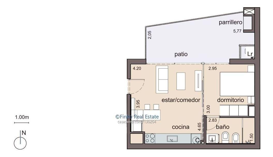 1 dormitorio  punta carreta con patio.