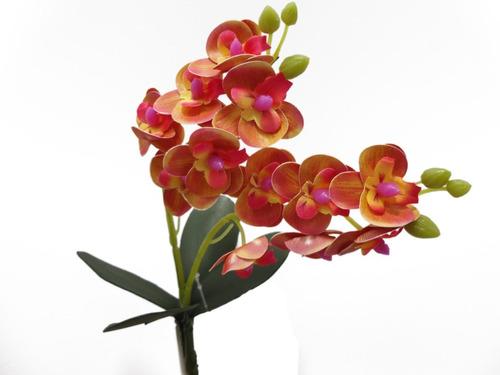1 flor orquídeas artificial silicone c/folha e 2 ramos