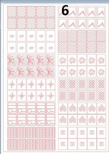 1 folha com 12 cartelas de stencio p decoração de unhas