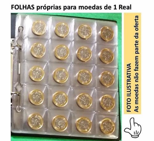 1 folha plástica para 20 moedas - ideal p/ moedas de 1 real