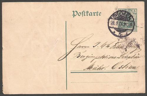 1º guerra alemania 1914 postkarte de bremen a münchen
